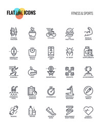 Flat line icons design-Fitness and Sports