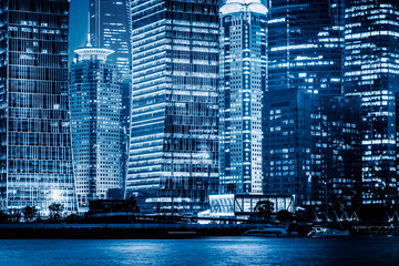 The night view of Shanghai, blue tone