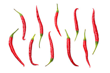 Aluminium Prints Hot chili peppers red hot chili peppers isolated on white background top view