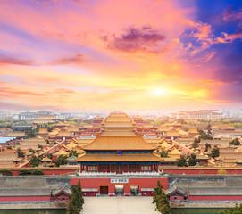 Beijing forbidden city scenery at sunset,China,Chinese symbols