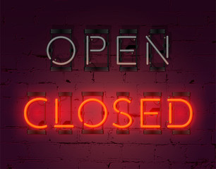 Neon Closed sign on brick wall background. Realistic glowing neon inscription. Vector