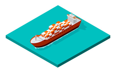 Vector illustration. Isometric view of the cargo box. A ship with steel containers, floating on the water. Transatlantic transportation. For delivery of the company