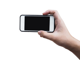 hand holding mobile phone and taking horizontal picture, isolated on white.