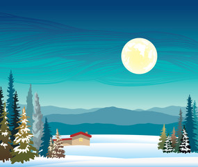 Winter night landscape - mountains, house, forest and full moon.