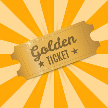 Golden ticket. Shiny Golden ticket to a background of rays of light. Vector illustration