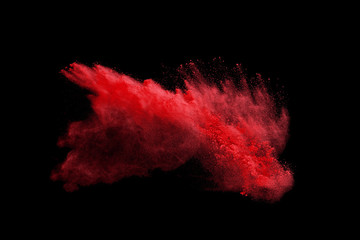 colorful powder splash isolated on black background
