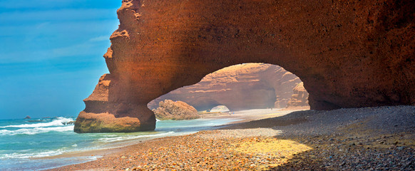 Deurstickers Marokko huge natural arches on the Atlantic coast of Morocco
