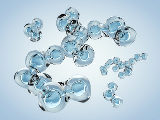 Molecule of Water. Structure. 3D rendering