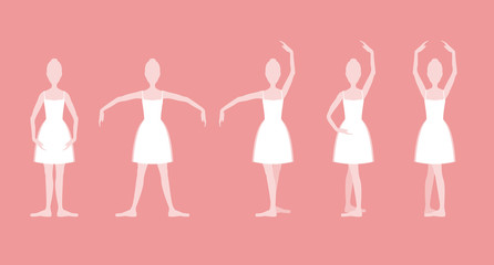 Cartoon Five Basic Ballet Positions Set. Vector