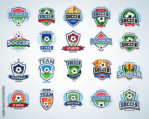 Soccer Logo Templates Set. Football Logotypes. Set Of Soccer Football Crests  And Logo Template