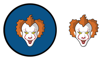 SCARY CLOWN WITH RED  BALLOON HALLOWEEN ICON