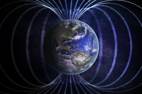 Magnetosphere or magnetic field around Earth. 3D rendered illustration.