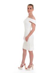 beatiful girl in beatiful dress on white background