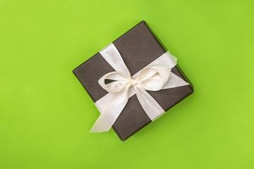 single gift wedding box isolated on green background