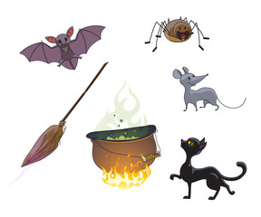 Set of characters and symbols for Halloween