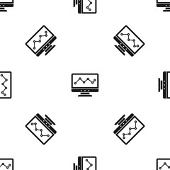 Graph in computer screen pattern seamless black