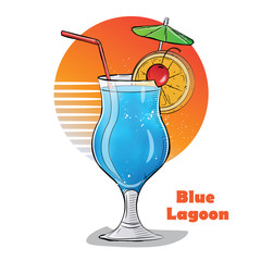 Hand drawn illustration of cocktail. Blue Lagoon.