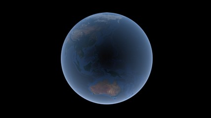 Oceans and islands between Asia and Australia on the Earth ball, Mariana hollow in the center, isolated globe, 3D rendering, elements of this image furnished by NASA.
