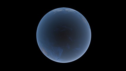 Pacific Ocean between America, Asia and Australia on Earth ball, isolated globe on a black background, 3D rendering, elements of this image furnished by NASA.