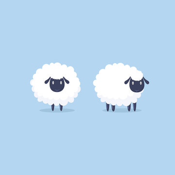 Sheep. Vector illustration. Funny cute sheep characters.