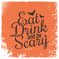 Door stickers Halloween Halloween party vintage lettering background.