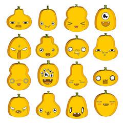 Colorful set of emoji pumpkins for Halloween.