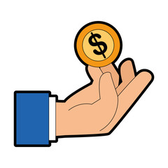 hand human with coin money isolated icon