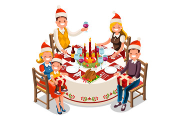 Christmas dinner party illustration. 3D flat isometric table decoration, food and vector cartoon characters