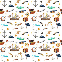 Watercolor hand drawn seamless pattern background illustration of Pirate set with ship, map, anchor, flag, helm, chest, telescope, compass with lettering Pirate isolated on white
