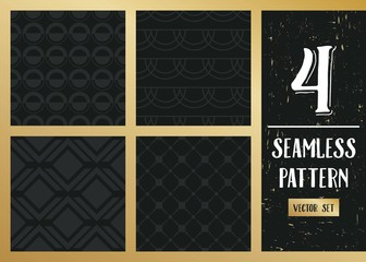 Abstract concept vector monochrome geometric pattern. Dark blue, gold minimal background. Creative illustration template. Seamless stylish texture. For wallpaper, surface, web design, textile, decor.