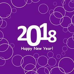 creative happy new year 2018 design. Flat design with shadow. Outline.