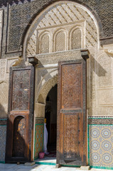 Bou Inania Madrasa, famous example of Maranid architecture and a popular tourist sight, Fes, Morocco, North Africa