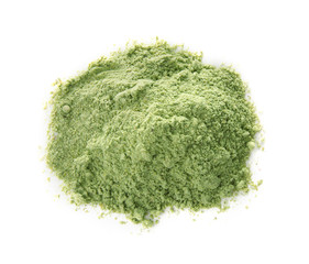Pile of wheat grass powder on white background