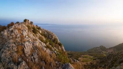 Sveta Nedjelja Village from the Top of Sveti Nikola - the Highest Mountain on Hvar Island, Dalmatia, Croatia