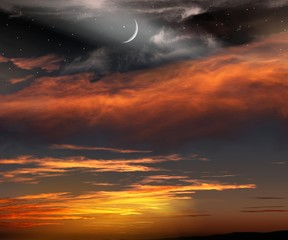 Light in dark sky . beautiful cloud . Sunset and new moon . Paradise heaven  . Against the background of clouds .