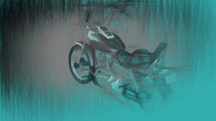 3d illustration of motorcycle.