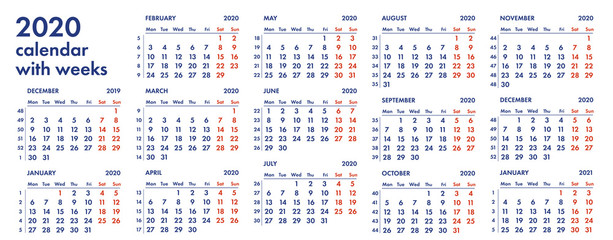2020 calendar grid with weeks vector illustration