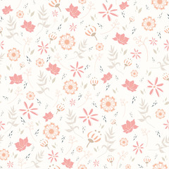 Seamless pattern with multiple floral illustration and white background.