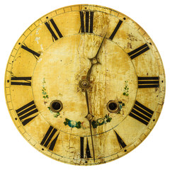 Ancient weathered clock face with cracks