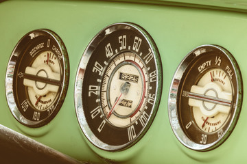 Dashboard meters of a vintage fifties car