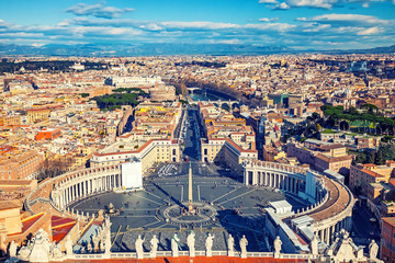 Fotomurales - Saint Peter's Square in Vatican and aerial view of Rome