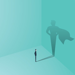 Businessman with superhero shadow vector concept. Business symbol of ambition, success, motivation, leadership, courage and challenge.