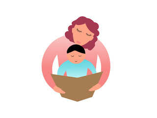 Mom reading a book with her child - Geometric and stylized vector illustration