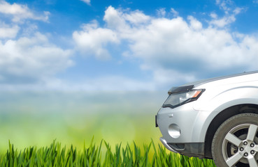 Fotomurales - image of car on sky  background close up