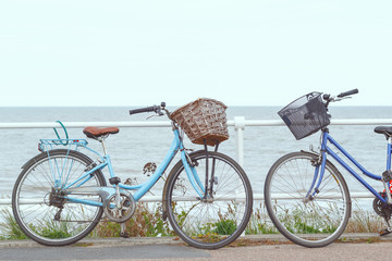 Printed kitchen splashbacks Bicycle Two bicycles chained to the fence of promenade in Southwold, a popular seaside town in the UK
