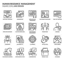 Human resource square icon set