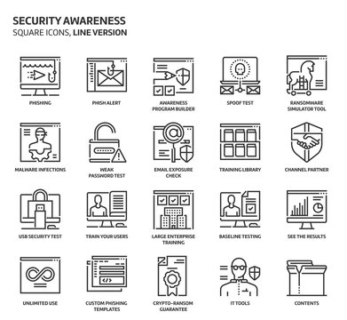 Security awareness square icon set