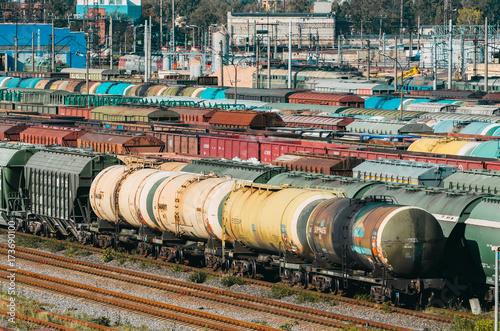 Cargo Train Cars Wagons Platform With Container Stockfotos Und
