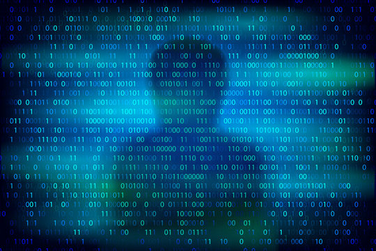 Anonymous silhouette on the blue background with binary code texture.