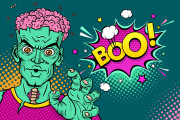 Cartoon hand drawn zombie with brains out rises his hands and Boo! speech bubble. Vector illustration in retro comic style. Colorful pop art background. Halloween monster party invitation poster.